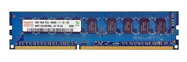 Memory RAM 1x 1GB Hynix ECC UNBUFFERED DDR3 1Rx8 1066MHz PC3-8500 UDIMM   HMT112U7BFR8C-G7