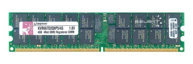 Memory RAM 1x 4GB Kingston ECC REGISTERED DDR2 4Rx8 667MHz PC2-5300 RDIMM | KVR667D2Q8P5/4G