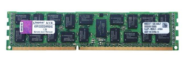 Memory RAM 1x 4GB Kingston ECC REGISTERED DDR3  1333MHz PC3-10600 RDIMM | KVR1333D3D4R9S/4G